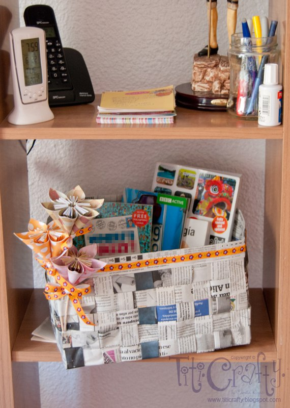 Cesta de papel peri dico the crafting nook - Cestas de papel periodico ...