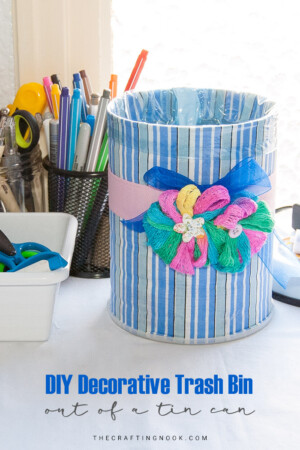 DIY Decorative Trash Bin out of a Tin Can