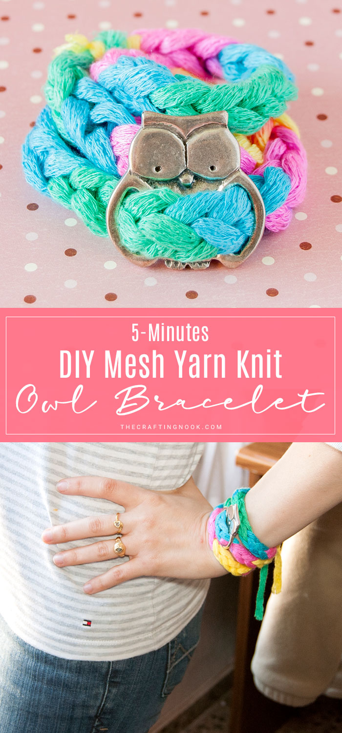 DIY 5-Minutes Mesh Yarn Knit Bracelet with owl