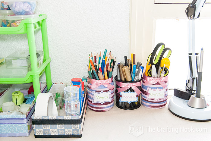 Decorative Pencil Holder from Upcycled Jars on desk