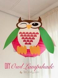 DIY Owl Lampshade Decoration Tutorial #lampshadeidea #lampshadedecoration #owllampshade