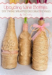 Cute Upcycling Wine Bottles: DIY Twine Wrapped Decorative Vases
