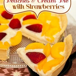 Here I haven't seen anything like it so I made my own version of it and let me tell you this Peaches and Cream Pie with strawberries turned out delicious!!!