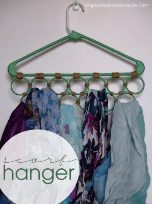 A Creative Scarf Hanger #scarfhanger #scarforganization #scarfhangeridea