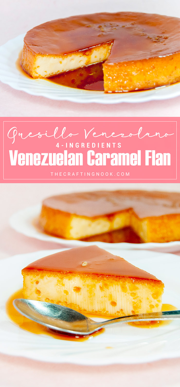 This Quesillo recipe is a traditional Venezuelan dessert also called Caramel Flan (even though it's not the same). It's made with just 4 ingredients (5 if you count the vanilla) and it's so crazy easy to make. Oh, and it tastes so addictively good!
