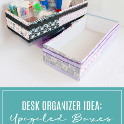 DIY Desk Organizer Idea UpcycledBoxes for Craft Supplies Storage