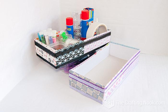 Tutorial Desk Organizer Idea UpcycledBoxes for Craft Supplies Storage