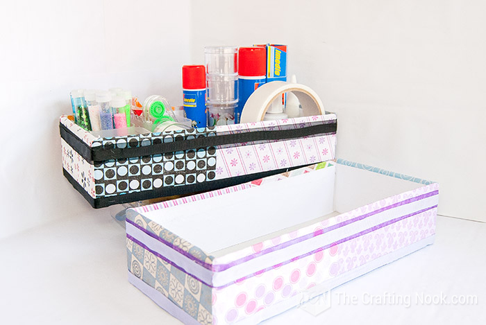 Easy Desk Organizer Idea UpcycledBoxes for Craft Supplies Storage
