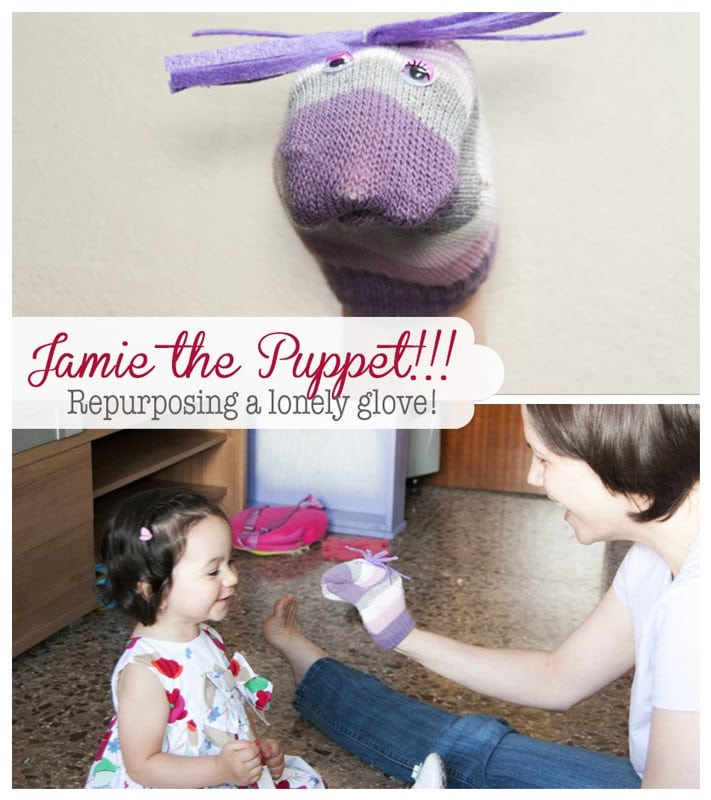 Jamie the Puppet!... Repurposing a lonely glove. #kidscraft #upcycledgloves #upcyclingcrafts