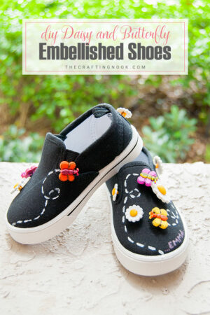 DIY Embellished Shoes with Daisy and Butterfly Buttons.