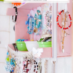 DIY Upcycled Crate Jewelry Organizer