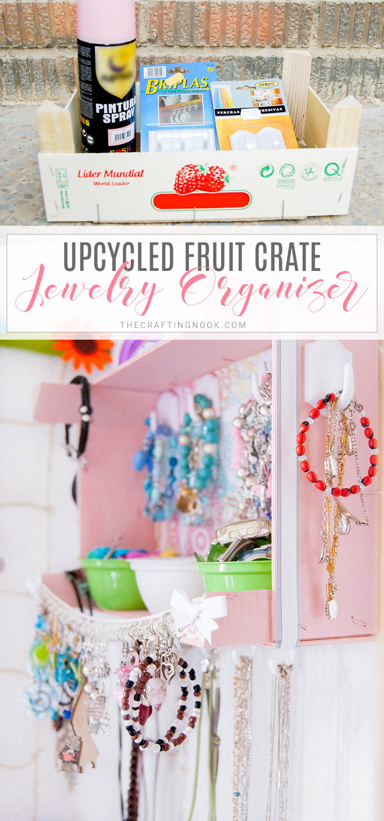 DIY Crafty Upcycled Crate Jewelry Organizer