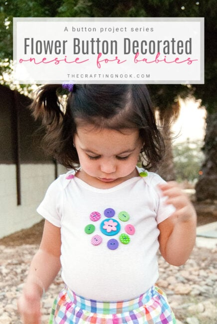 Flower Button Decorated Onesie for girls