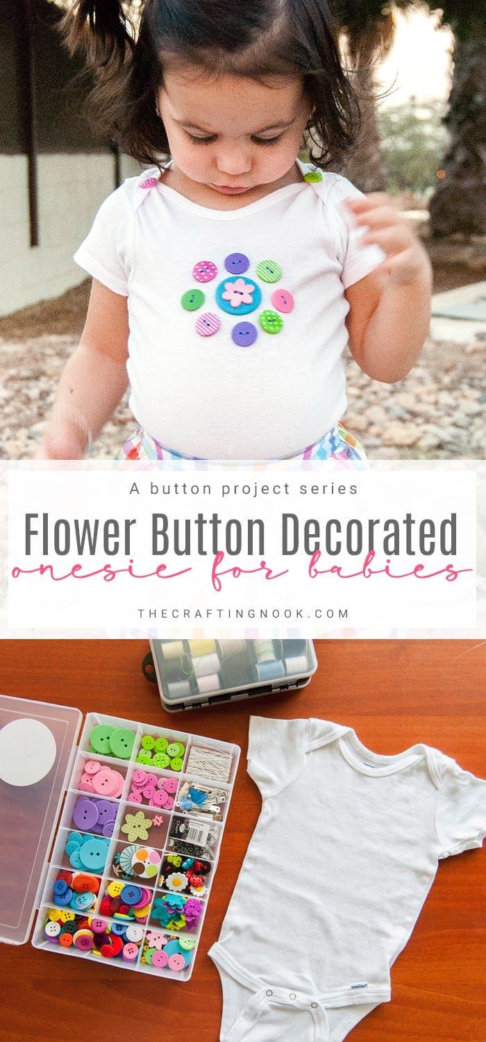 DIY Floral Button Decorated Onesie for Babies
