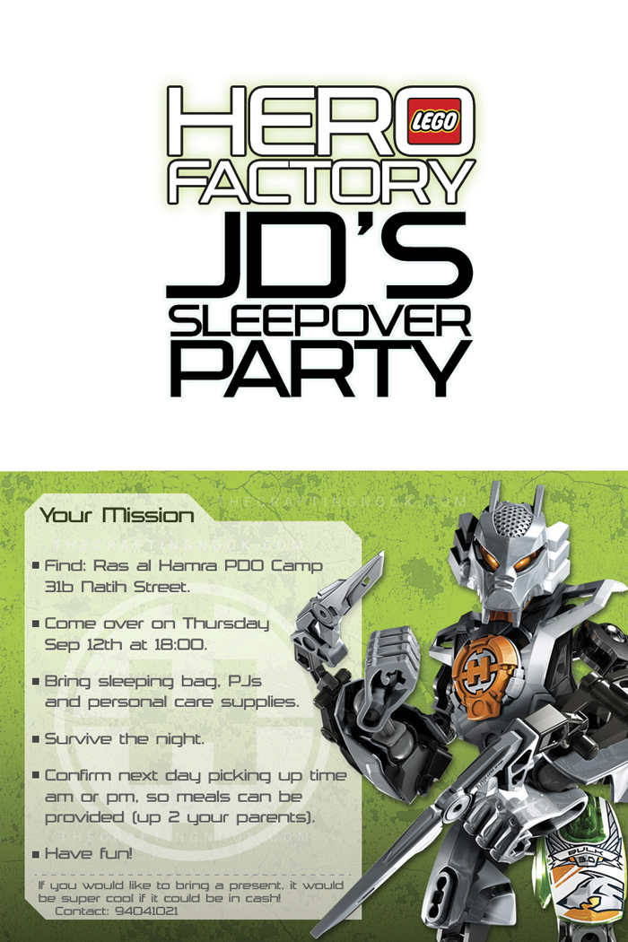 Themed Lego's Hero Factory Birthday Party Invite Inside