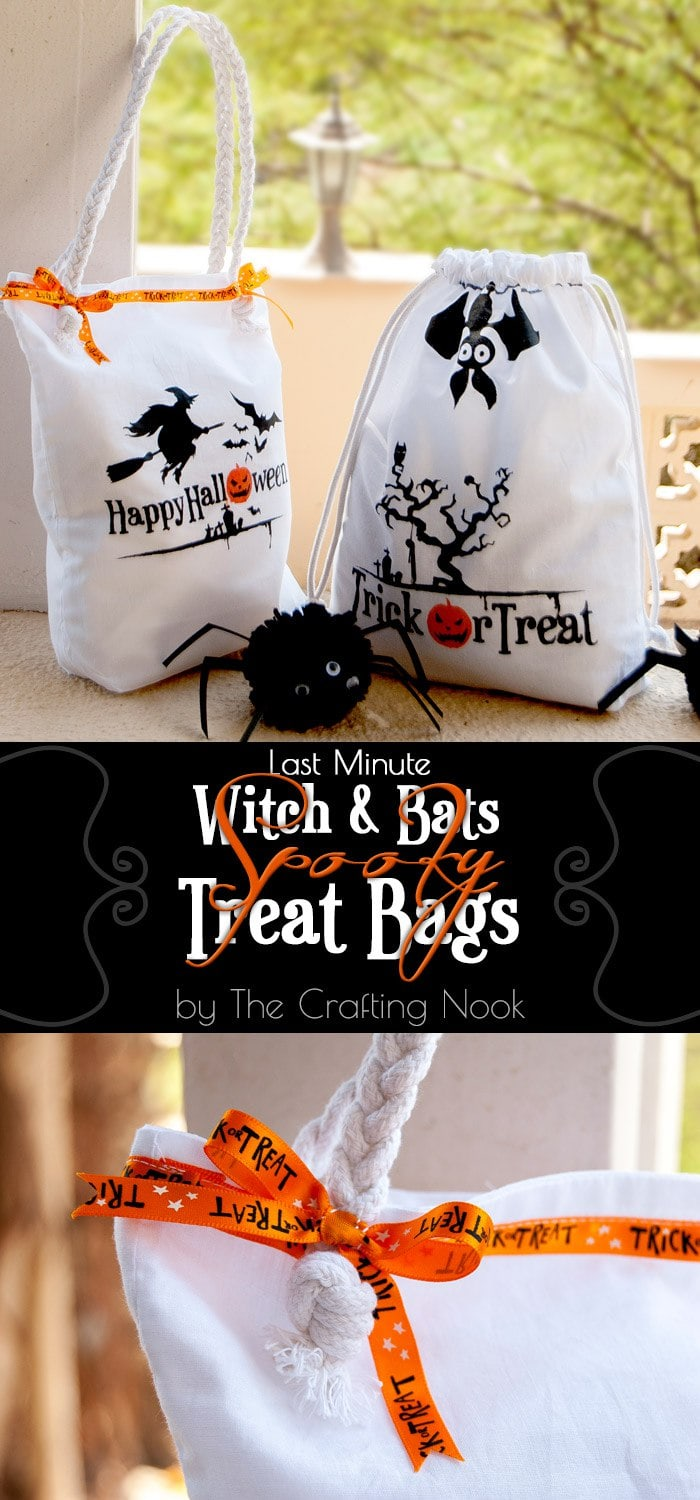 Last Minute Witch and Bats Spooky Halloween Treat Bags Tutorial #halloweentreats #halloweentreatbag #halloweennight