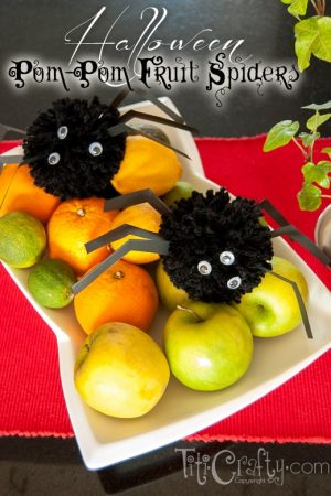 Halloween Pom-pom Fruit Spiders Tutorial