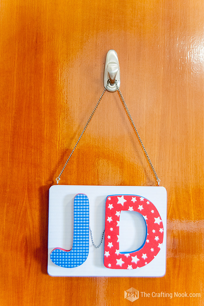 Learn How to make a Mod Podge Door Plaque for kids