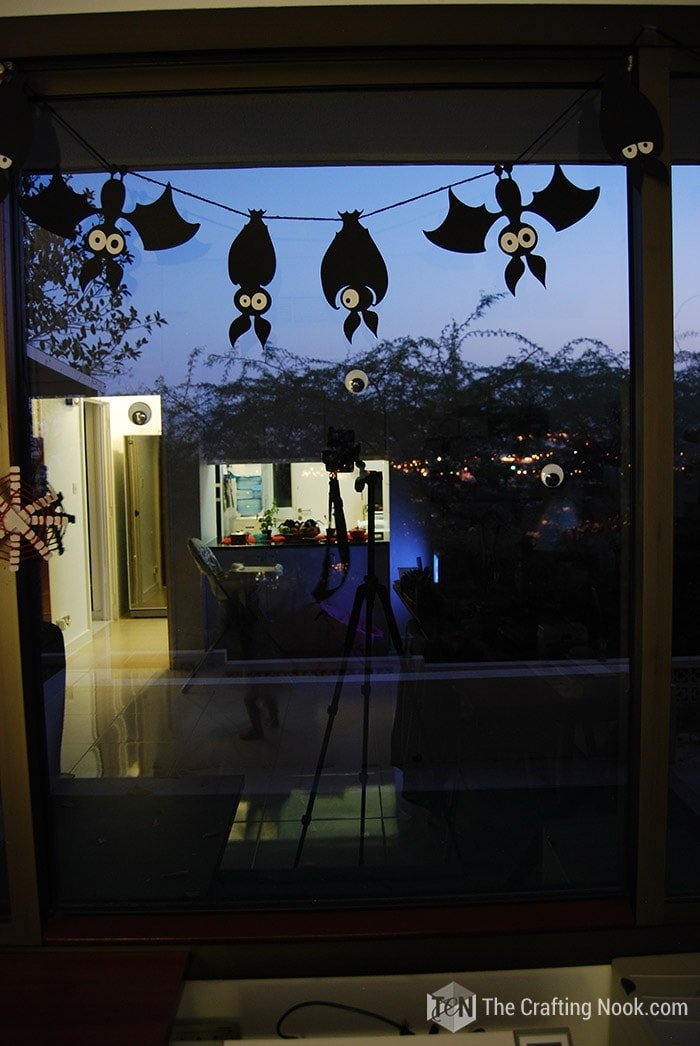 Spooky Halloween Bats Garland hung on the wall!