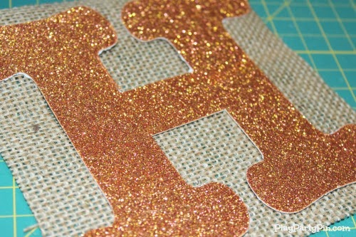 Burlap and glitter letter fall banner