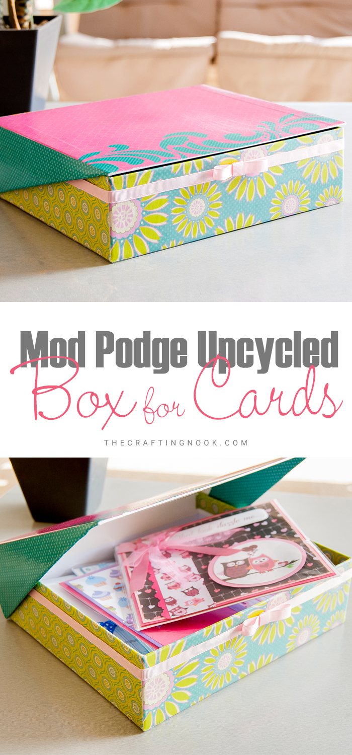 Upcycled Mod Podge Box for Cards