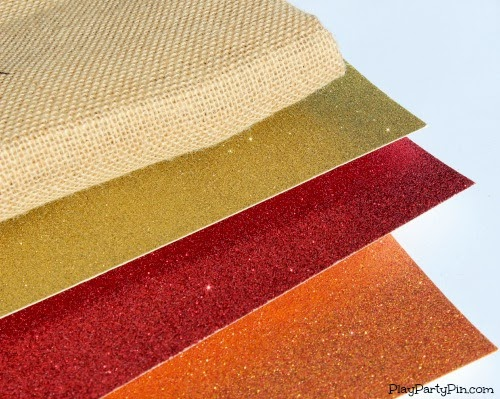 Burlap and glitter cardstock for fall burlap banner