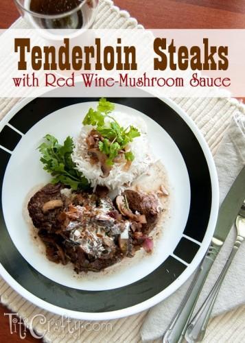 Tenderloin Steaks with Red Wine-Mushroom Sauce #Tenderloinrecipe #redwinemushroomsause #steakrecipe