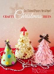 3 in 1 Tutorial Popcorn, Yarn and Paper Crafty Christmas Trees #handmadechristmas #christmastree #christmasdecorations