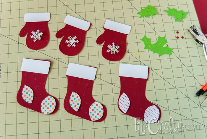 Socks and Mittens Christmas Garland pieces already cut.