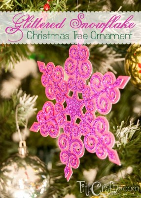 http://titicrafty.com/2013/12/glittered-snowflake-christmas-tree-ornament/