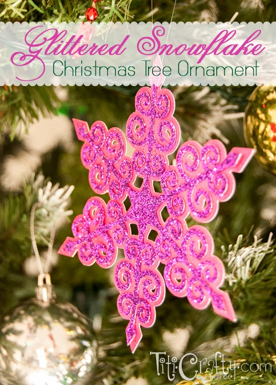 Glittered Snowflake Christmas Tree Ornament