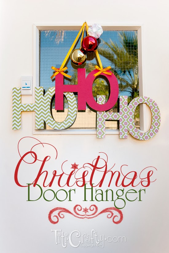 HO HO HO Christmas Door Hanger DIY Decoration + Cut File