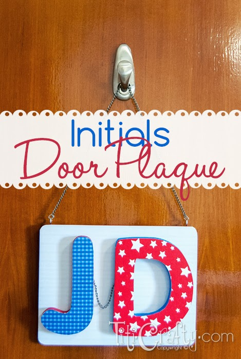 Mod Podge Initials Door Plaque #modpodge #modpodgeideas