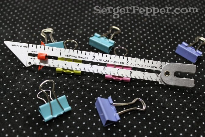 SergerPepper.com Guest Post - Sew Basic Series - Sewing Tools and Notions - TitiCrafty.com - Sewing Gauge and Binder Clips