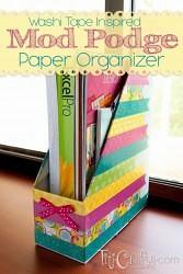 Washi Tape Inspired Mod Podge Paper Organizer #washitape #washitapeideas #modpodgeideas