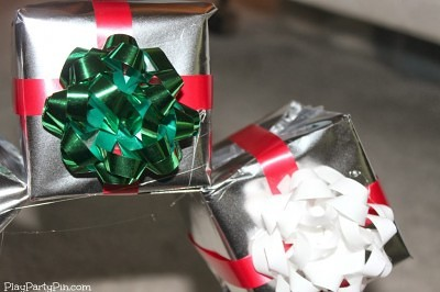 Wrapped gifts with ribbons