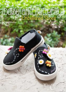 DIY Daisy and Butterfly Embellished Shoes
