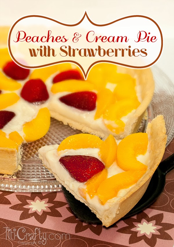 Peaches & Cream Pie with Strawberries