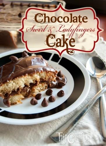 Chocolate Swirl and Ladyfingers Cake #nobakerecipe #ladyfingerscake #nobakechocolatecake