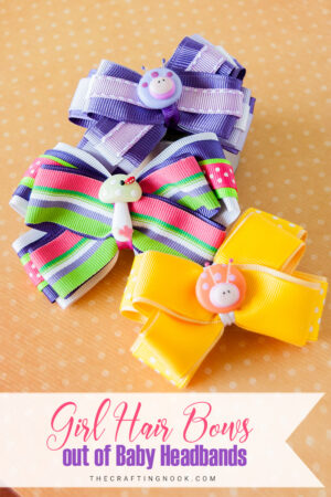 DIY Girl Hair Bows out of Baby Headbands