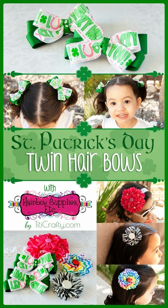 DIY St. Patrick's Day Twin Hair bows and Hairbows Supplies Etc. Review