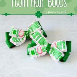 DIY St. Patrick's Day Twin Hair bows