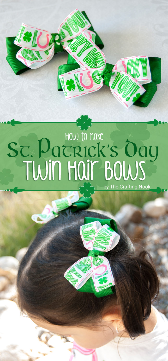 How to Make St. Patrick's Day Twin Hair bows