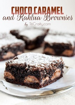 Chocolate and Caramel Kahlua Brownies