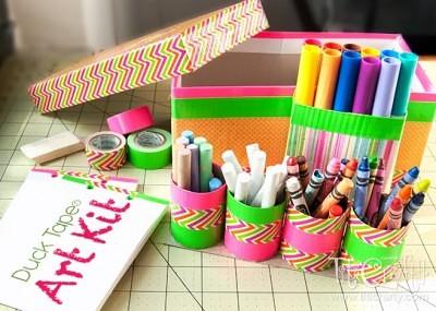 http://titicrafty.com/2013/08/duck-tape-art-kit/