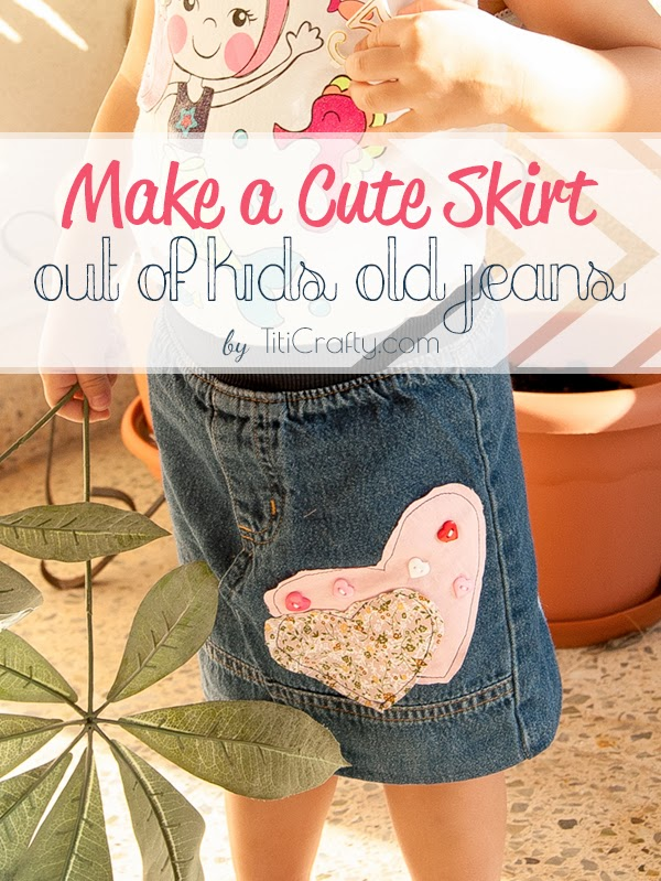 How to Make a Cute Skirt out of Kids Old Jeans ...