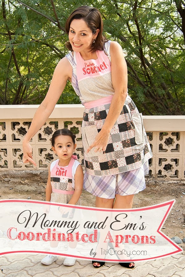 Mommy and Em's Coordinated Aprons DIY Tutorial with cut files