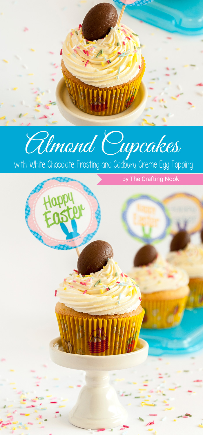 White Chocolate Almond Cupcakes with Cadbury Creme Eggs Topping recipe