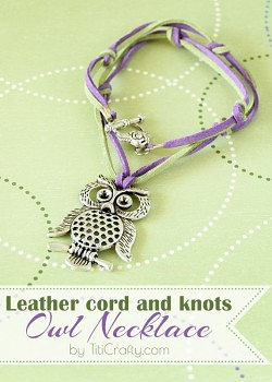 DIY Easy and Cute Leather cord and knots Owl Necklace