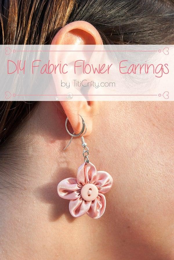 DIY Fabric Flower Earrings  Tutorial